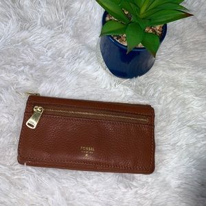 FOSSIL brown cow hide leather wallet gold zipper